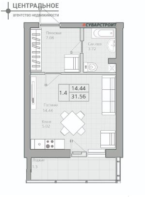 Квартира 31.16 кв.м., 9/19 этаж