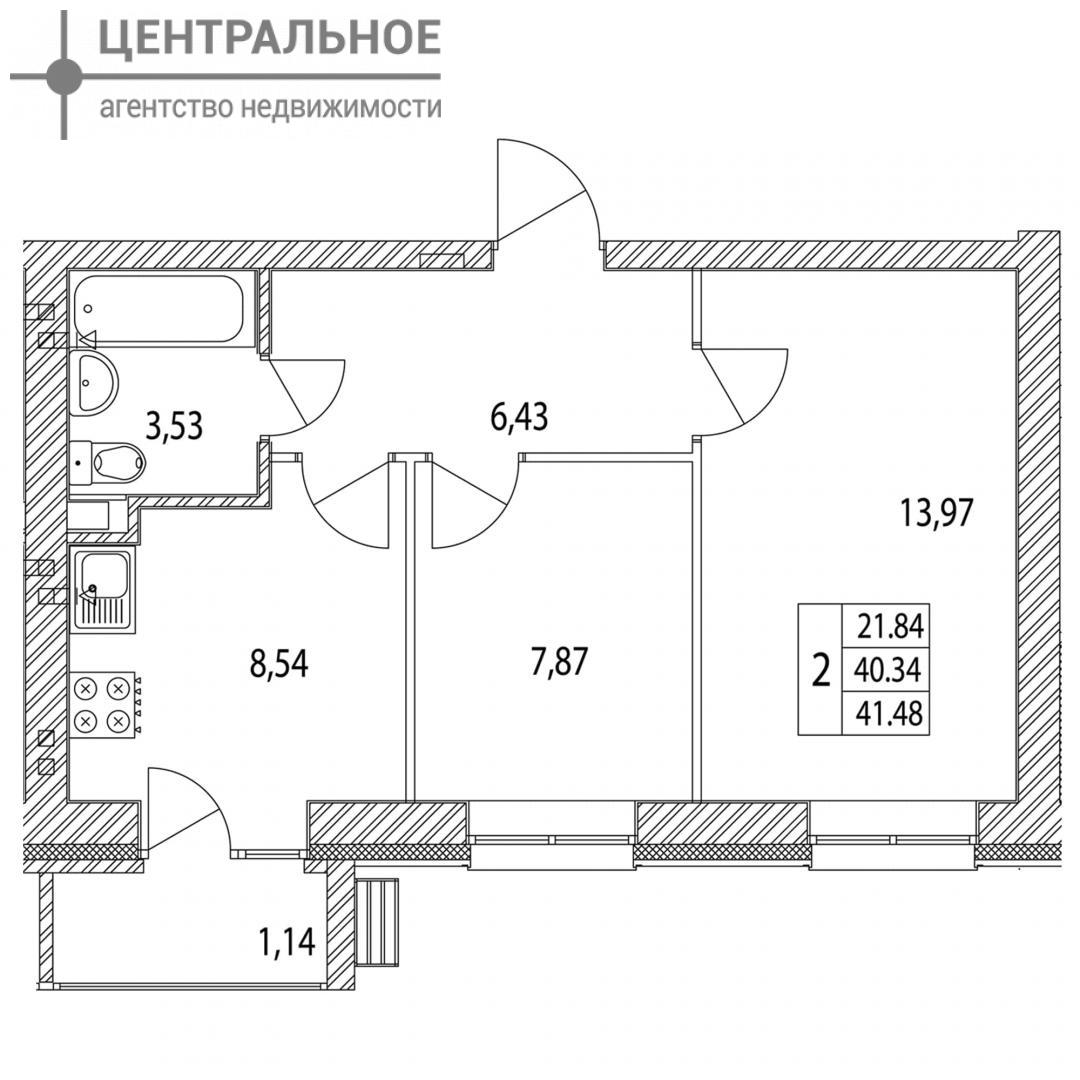 2-комнатная квартира, 41.48 кв.м., 2/3 этаж