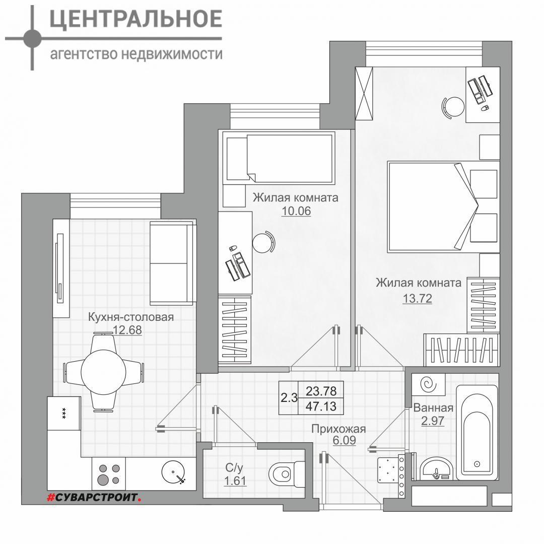 2-комнатная квартира, 49 кв.м., 12/25 этаж