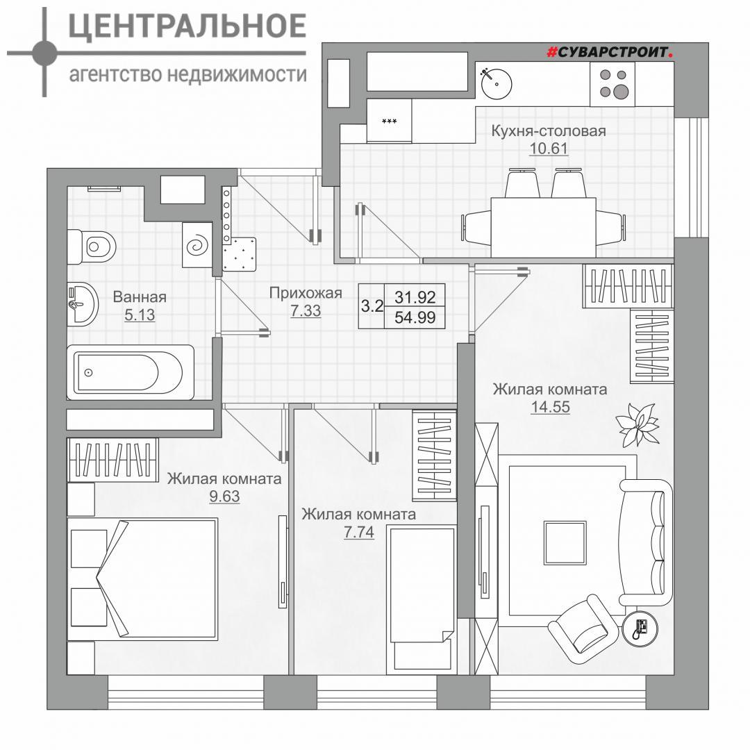 3-комнатная квартира, 55 кв.м., 24/25 этаж