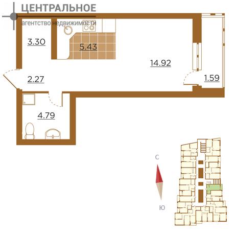 1-комнатная квартира, 32 кв.м., 16/25 этаж