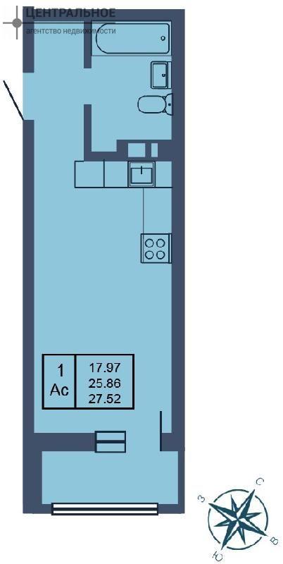 Квартира 27.52 кв.м., 7/19 этаж