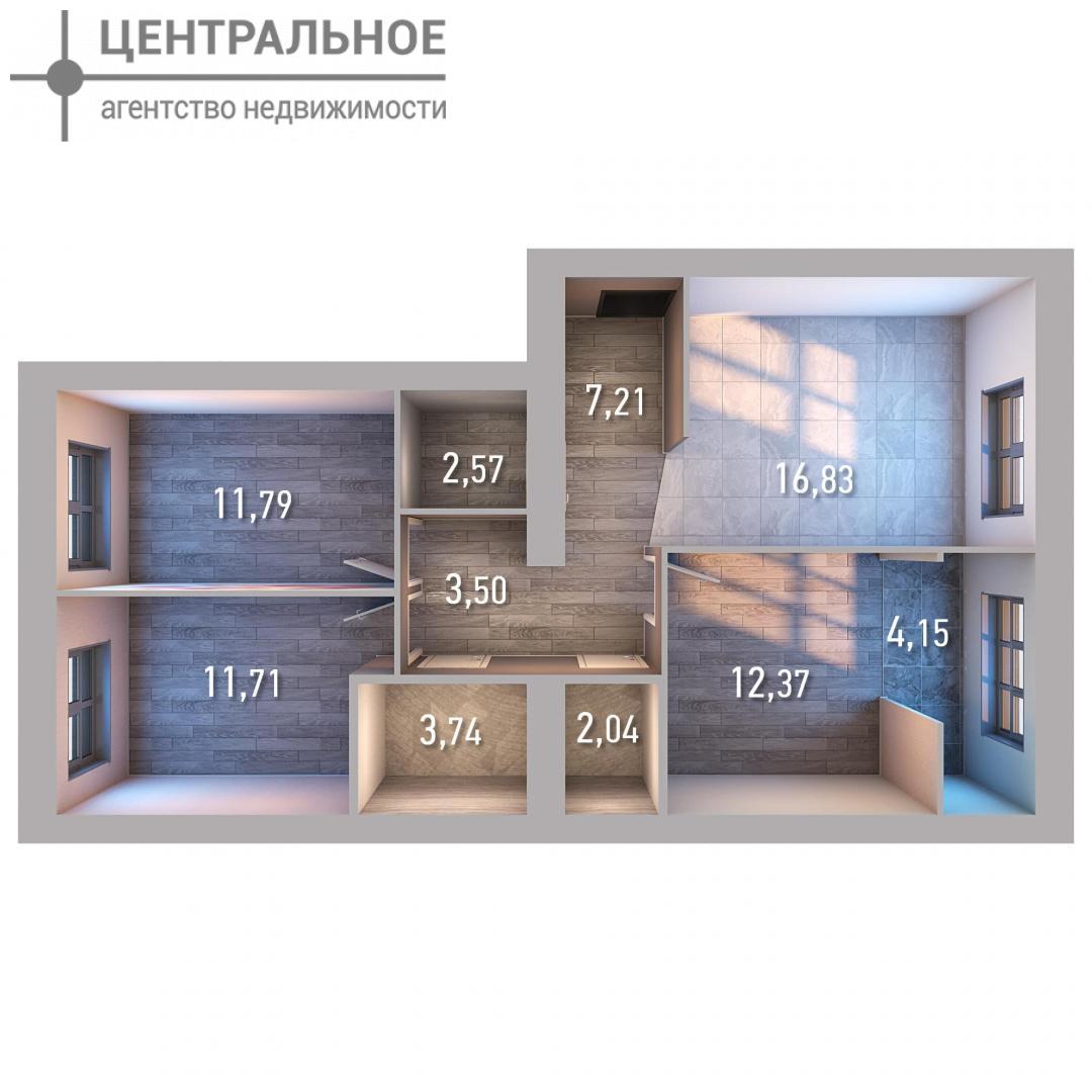 3-комнатная квартира, 75.91 кв.м., 3/10 этаж