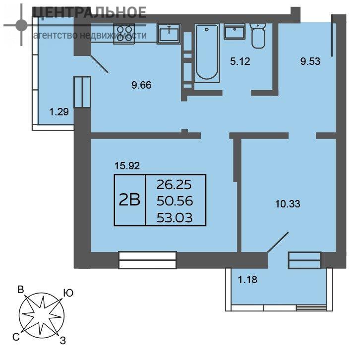2-комнатная квартира, 53.3 кв.м., 3/19 этаж