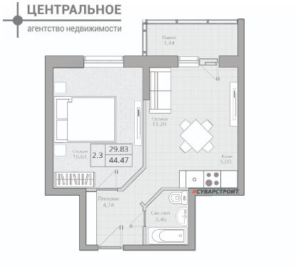 2-комнатная квартира, 44.47 кв.м., 14/19 этаж