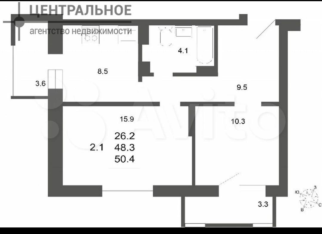 2-комнатная квартира, 53.4 кв.м., 6/19 этаж