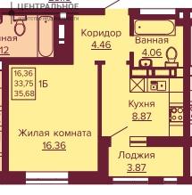 1-комнатная квартира, 35 кв.м., 9/12 этаж